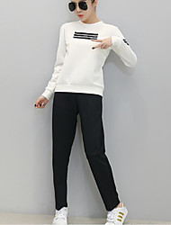 Damen Druck Aktiv Sport T-shirt Hose Anzüge,Rundhalsausschnitt Herbst Langarm Weiß / Grau Baumwolle Undurchsichtig