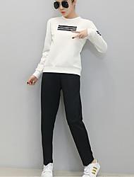 Women's Sports Active Fall T-shirt PantPrint Round Neck Long Sleeve White / Gray Cotton Opaque