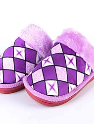 Unisex Slippers & Flip-Flops Fall Winter Chiffon Casual Flat Heel Plaid Blue Purple Red Other