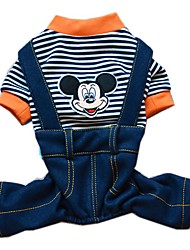 Cute Stripe Design Cartoon Mouse Pattern Overall Jumpsuits for Pets Dogs (Assorted Sizes and Colours)