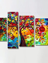Ready to Hang Stretched Frame Hand-Painted Oil Painting Money Tree Floral Botanical Scenery Modern Home Decoration