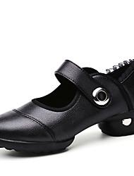 Keine Maßfertigung möglich-Blockabsatz-Leder / Stoff-Tanz-Turnschuh-Damen