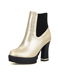 Damen-Stiefel-Büro Lässig-Kunstleder-BlockabsatzSchwarz Rot Weiß Silber Gold