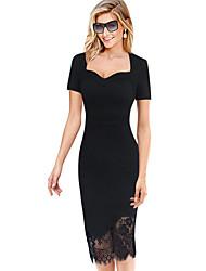 Women's Deep V Sexy Solid Black Lace Stitching Bodycon Short Sleeve Midi Black Dress