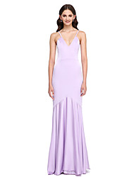 LAN TING BRIDE Floor-length Spaghetti Straps Bridesmaid Dress - Elegant Sleeveless Satin Chiffon