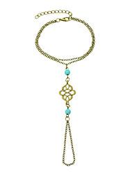 Vintage Design Adjustable Chain Link Bracelets with Fingers Rings