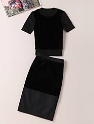 Damen Solide / Buchstabe Einfach Ausgehen T-shirt Rock,Rundhalsausschnitt Sommer Kurzarm Schwarz Wolle / Polyester Mittel