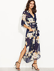 Women's Casual/Daily Vintage Chiffon DressFloral Deep V Maxi Long Sleeve Blue Polyester Fall High Rise Inelastic Thin