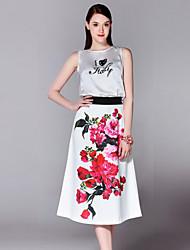 Mary Yan & Yu  Women's Blouse SkirtEmbroidered Round Neck Sleeveless White Cotton / Polyester Medium