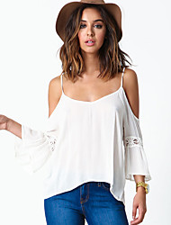 Women's Going out / Beach Sexy / Simple All Seasons BlouseSolid Strap  Sleeve White Cotton / Rayon Thin