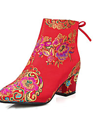 Women's Boots Fall Winter Embroidered Shoes Club Shoes Light Up Shoes Silk Customized Materials Wedding Chunky Heel Satin Flower Red