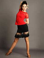 Tenue(Noire,Chinlon / Tulle,Danse latine)Danse latine- pourFemme Frange (s) Spectacle Danse latine Taille moyenne