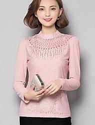 Damen Solide Anspruchsvoll Übergröße T-shirt,Rundhalsausschnitt Herbst Langarm Rosa / Schwarz Polyester Undurchsichtig