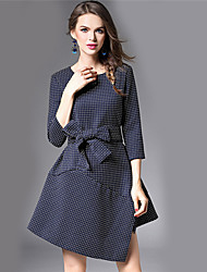 BOMOVO Women's Round Neck 3/4 Length Sleeve Above Knee Dress-B16QBJ8