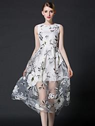 frmz sortir gaine joli col rond manches dressfloral midi polyester blanc d'été de grande hauteur moyenne inélastique