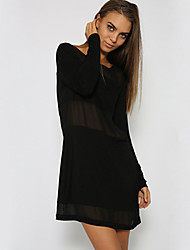 Women's Formal Sexy Chiffon Dress,Solid V Neck Above Knee Long Sleeve Black Others Summer