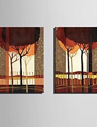 Пейзаж / ботанический Холст для печати 2 шторы Готовы повесить , Вертикальная