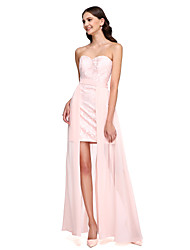 2017 Lanting Bride® Asymmetrical Chiffon / Lace Convertible Dress Bridesmaid Dress - Sweetheart with Sash