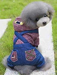 Dog Hoodie Clothes/Jumpsuit Dog Clothes Winter Spring/Fall British Holiday Fashion Green Wine