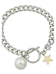 New Single Imitation Pearl Silver Color Chain Bracelets