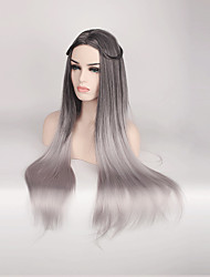Hot Female Wig Ombre Black Grey Synthetic Wigs for Black Women Long Straight Hair Heat Resistant Cheap Natural Wigs