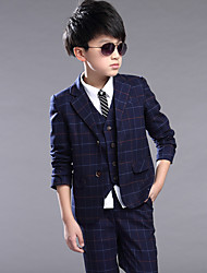 Kids Baby Boy Clothes Formal Wedding Suit Plaid Jackets Pants Set Children Costume Boys Clothing