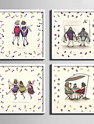 Pessoas Quadros Emoldurados / Conjunto Emoldurado Wall Art,PVC Branco Sem Cartolina de Passepartout com frame Wall Art
