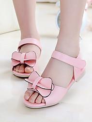 Girl's Sandals Summer PU Casual Flat Heel Bowknot Blue Pink Fuchsia Others