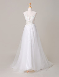 A-line Wedding Dress Court Train Jewel Lace / Tulle with Embroidered / Lace