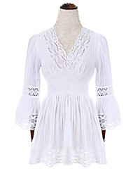 Women's Casual/Daily Sexy Sheath DressSolid V Neck Above Knee Long Sleeve White Cotton Fall High Rise Inelastic Thin