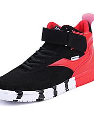 Masculino-Tênis-Conforto-Rasteiro-Cinza Preto e Vermelho Preto e Branco-Tecido-Casual
