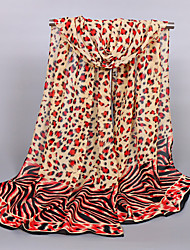Women's Chiffon Leopard Print Scarf Red/Pink/Blue/Brow/Beige/Yellow/White