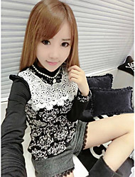 Women's Casual/Daily Sexy Fall ShirtFloral Crew Neck Long Sleeve White / Black Cotton