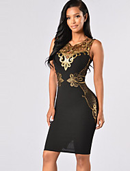 Women's Club Sexy / Vintage Bodycon DressPatchwork Lace Hollow Out V Neck Above Knee Sleeveless  Mid Rise