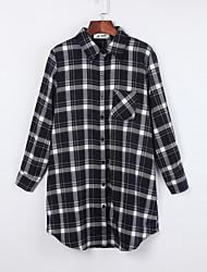 Women's Casual/Daily Simple Fall ShirtPlaid Shirt Collar Long Sleeve Red / Black / Green Cotton Medium