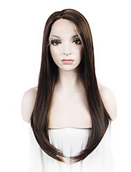 imstyle 24 en la hermosa manera de la venta largas naturales pelucas delanteras del cordón sintéticas rectas para el partido