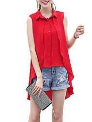 Women's Solid Pink / Red / White / Black / Gray Shirt,Shirt Collar Sleeveless