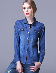 Women's Casual/Daily / Formal Vintage Spring / Fall ShirtSolid Shirt Collar Long Sleeve Blue Polyester Medium