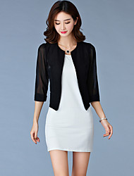 Women's Casual/Daily Simple Spring / Fall Blazer,Solid Round Neck ¾ Sleeve White / Black Cotton Thin