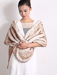 Women's Wrap Shawls Sleeveless Faux Fur Black / White Party/Evening Off-the-shoulder 45cm Feathers / fur Open Front