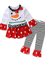 Girl's Party/Cocktail Chirstmas Print Clothing SetCotton All Seasons / Spring / Fall White