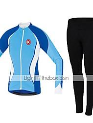 KEIYUEM Calça com Camisa para Ciclismo Unissexo Manga Comprida MotoRespirável Térmico/Quente Secagem Rápida Á Prova-de-Pó Vestível
