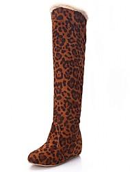 Feminino-Botas-Plataforma Inovador Botas de Cowboy Botas de Neve Botas Montaria Botas da Moda-Salto Baixo Plataforma-Marrom Vermelho