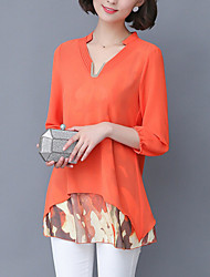 Women's Print Blue / Green / Orange Blouse,V Neck ¾ Sleeve
