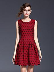 Jojo Ганса женщин собирается хитроумные шею оболочка dressprint экипажа выше колена без рукавов красного полиэстера