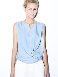 novo antes casual / diária simples verão tripulação blousesolid pescoço sem mangas azul rayon das mulheres opaco