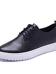 Women's Flats Spring / Fall Comfort / Round Toe sheep Skin Office & Career / Casual Platform Lace-up Walking shoes