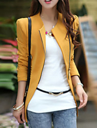 Women's Color Block Black/Brown/Yellow Blazer , Casual Square Neck Long Sleeve