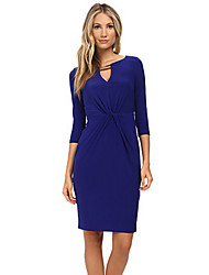 Women's Going out / Casual/Daily Simple / Street chic Sheath DressSolid V Neck Above Knee  Sleeve