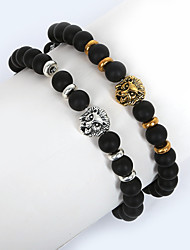 Beadia 1Pc 8mm Black Glass Bead Strand Bracelet Buddha Lion Bracelet Christmas Gifts